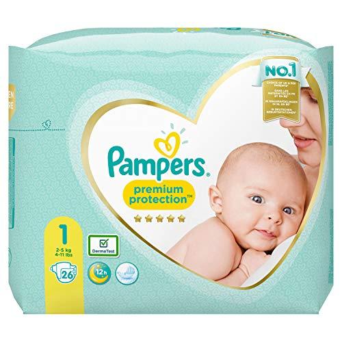Pampers Premium Protection Größe 1, 26 Windeln, 2kg-5kg