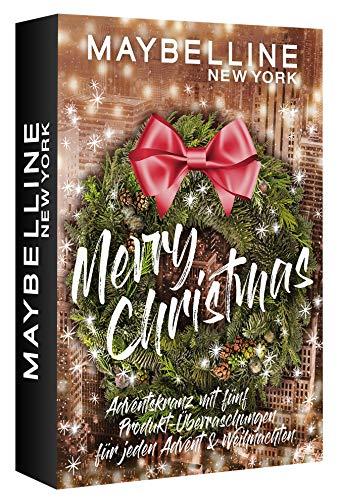 Maybelline New York Adventskranz, Mini Adventskalender mit Kosmetik hinter 5 Türchen, Beauty Adventskalender...
