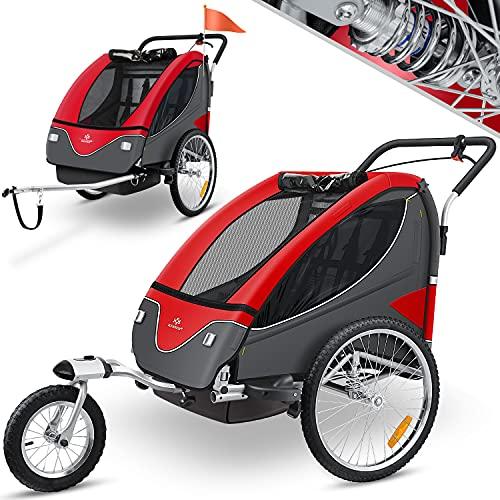 KESSER® Cruiser Kinderanhänger Fahrradanhänger 360° Drehbar mit Federung 2in1 Joggerfunktion...