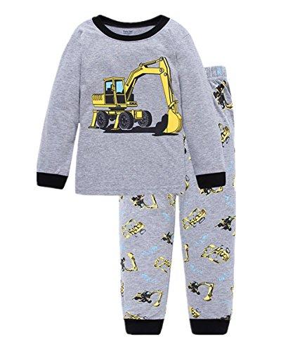 Little Hand Jungen Zweiteiliger Schlafanzug Baumwolle Lange Nachtwäsche Fahrzeug Bagger Kinder Pyjama,...