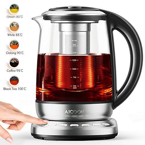 Aicook Glas Wasserkocher, 1.7L wasserkocher mit temperatureinstellung, 2200W, Schnellkochfunktion, 120 Minuten...