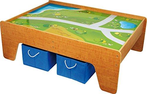 small foot 2232 Spieltisch aus Holz, mit Textiloberfläche, inkl. zwei Boxen aus Textil für mehr Stauraum, ab...