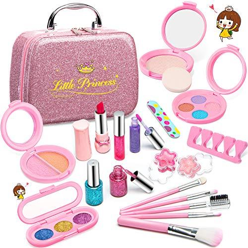 Pickwoo Kinderschminke Set Mädchen , 21 PCS Real Kids Kosmetik Kosmetiktasche Schminkkoffer Kinder Waschbar...