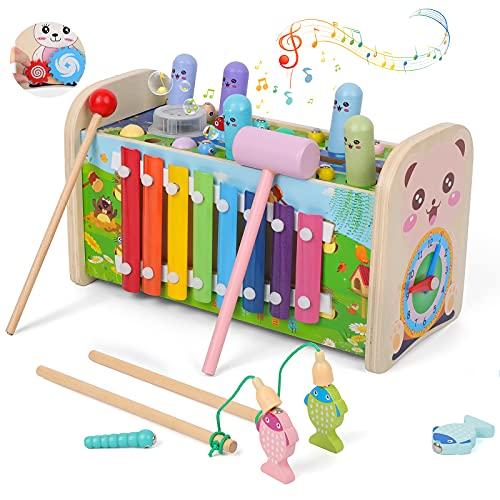 Rabing Klopfbank mit Musikspieler, 7 in 1 Xylophon und Hammerspiel Spielzeug, Montessori Pädagogisches...