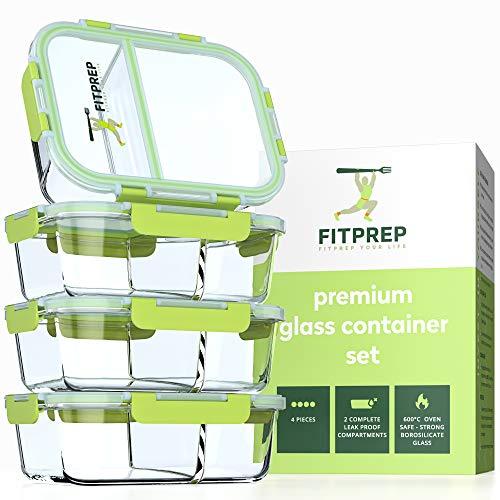 FITPREP® - Frischhaltedosen aus Glas [4 Stück-1040 ml] - 2 komplett dichte & getrennte Fächer - Premium...