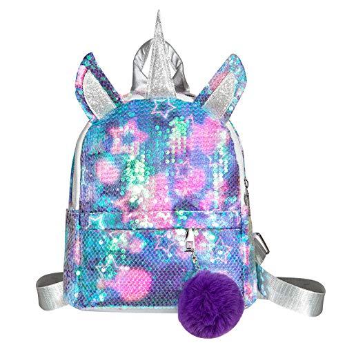 WolinTek Kinderrucksack, Einhorn Pailletten Tasche, Kinderrucksäcke,Mädchen Schulrucksack...