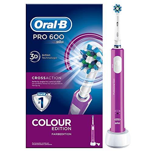 Oral-B Pro 600 Elektrische Zahnbürste mit Cross Action Aufsteckbürste, purple