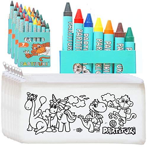 Mitgebsel Kindergeburtstag Junge. 20 Federmäppchen Zu Malen und 20 Sets mit 7 Farbige Crayons Partituki. Mit...