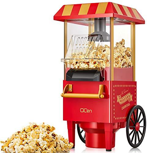 Popcornmaschine für Zuhause, QCen 1200W Retro Popcorn Maker Machine, Heissluft Popcornmaker Ohne Fett...