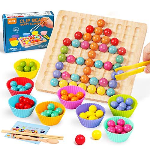 O-Kinee Holz Go Spiele Set, Holz Clip Beads Brettspiel, Clip Perlen Spiel Puzzle Board, Puzzle Spielzeug,...