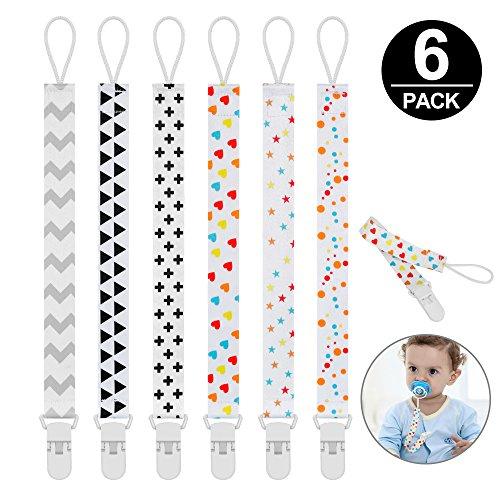 Schnullerband Baby,Mopoin Schnullerkette Clip, Unisex-Schnullerketten für Baby mit Kunststoff Clip Baumwolle...