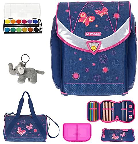 7 Set HERLITZ Flexi Plus Schulranzen Ranzenset Schultasche Mäppchen gefüllt + Sporttasche elk (Butterfly...