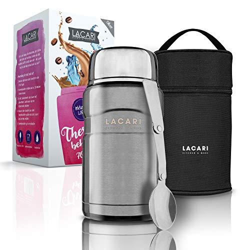 LACARI Thermobehälter für Essen in Silber | 700ml Thermosflasche aus Edelstahl | Warmhaltebehälter Essen |...