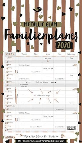 Familienplaner Metallic Glam 2020: Familienkalender, 5 breite Spalten, echter Metallic Glanz. Mit...