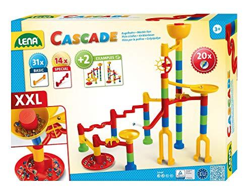 Lena 65296 Cascade Kugelbahn Super Twister, Murmelbahn zum Zusammenbauen, Rollbahn Baukasten Set mit 45...