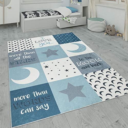Paco Home Kinderteppich, Waschbarer Kinderzimmer Teppich m. Stern, Mond u. Karo Motiven, Grösse:120x160 cm,...