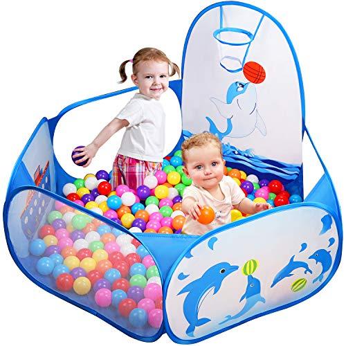 Likorlove Kinder Bällebad, Pop Up Baby Kugelbad Outdoor mit Mini Basketballkorb Bällepool Bällebecken...