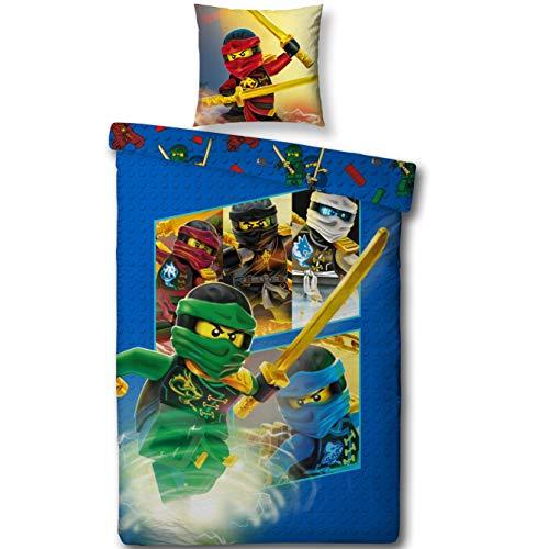 Lego NINJAGO Kinderbettwäsche ' TEAM Ninja ' Kinder Jungen Bettwäsche Set 2 tlg. 80x80 + 135x200 cm 100 %...