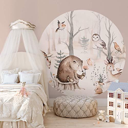 Fototapete Kvilis - Tierfreunde im Wald - Rund Tapete Foto Vliestapete Motiv Kinder Kinderzimmer Made in...