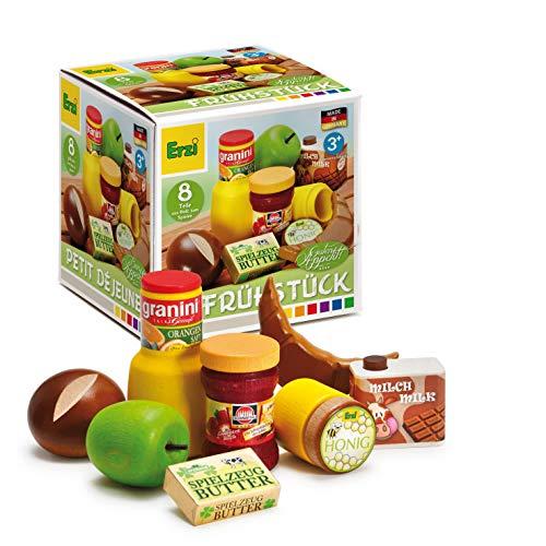Erzi 28152 Sortierung Frühstück aus Holz, Kaufladenartikel für Kinder, Rollenspiele
