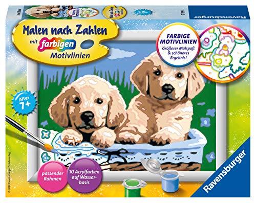Ravensburger Malen nach Zahlen 27839 -Süße Hundewelpen - Für Kinder ab 7 Jahren
