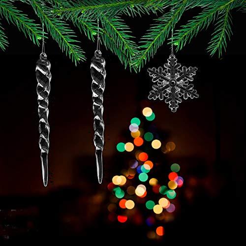 DAHI 12 pcs Christbaumschmuck eiszapfen eistropfen Anhänger aus Glas zum Hängen Weihnachten Dekoration