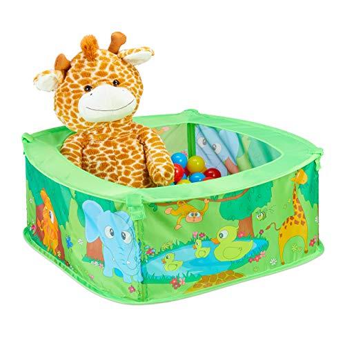 Relaxdays 10028881 Bällebad Baby, Dschungel Ballzelt mit 50 Bällen, quadratisch, Pop-Up, HBT 29 x 80 x 80...