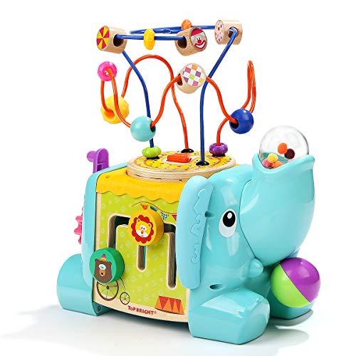 TOP BRIGHT Aktivitätswürfel 5-seitiger Elefant Baby-Aktivitätstisch ab 1 Jahr - Aktivitätszentrum aus Holz...
