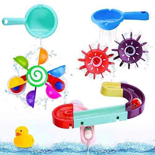 BBLIKE Baby Badespielzeug Set, Kinder Wassermühle Badewannenspielzeug mit BAU-Puzzle Autorennbahn Badewannen...