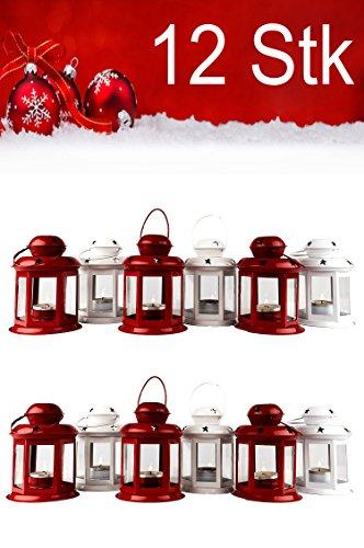 12er Set Windlicht Laterne Weihnachten Kleine Laternen Für Draußen Metall Glas Windlichter Weihnachtsdeko...