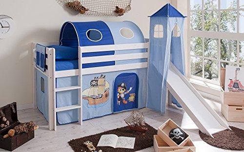 lifestyle4living Hochbett für Kinder in weiß-blau mit Rutsche, Turm und Vorhang im Piraten Motiv | Spielbett...