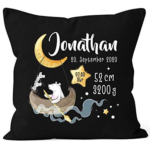 SpecialMe® personalisierbarer Kissen-Bezug zur Geburt Bär Mond und Sterne Geburtskissen, Namenskissen...