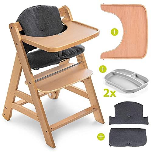 Hauck Hochstuhl Set Alpha Plus Move inkl. Essbrett, Sitzkissen und 2x Babyteller Silikon - mitwachsender Holz...