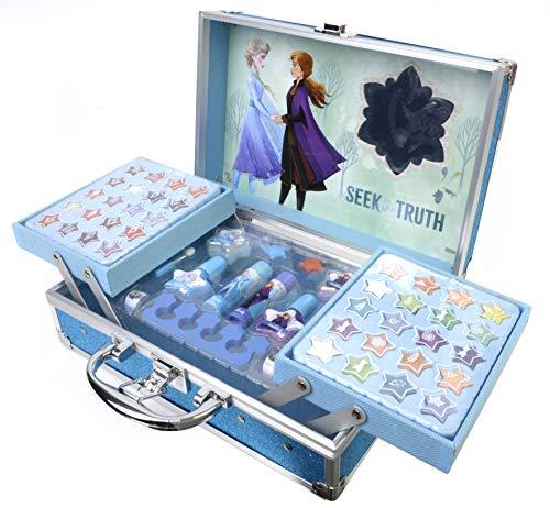 Frozen II Schminkkoffer mit wasserlöslicher Kinderschminke im Anna & Elsa Design, Haarschmuck, Ringe,...