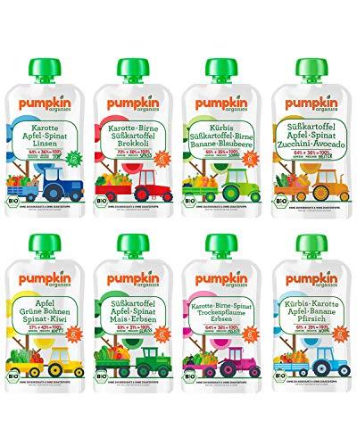 Bio Gemüse Quetschies - Pumpkin Organics QUERBEET (16 x 100g) Snacks für Kinder ab 12. Monat