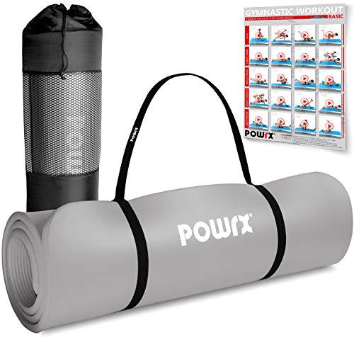 POWRX Gymnastikmatte I Yoga-Matte inkl. Trageband + Tasche + GRATIS Übungsposter I Hautfreundliche Sportmatte...