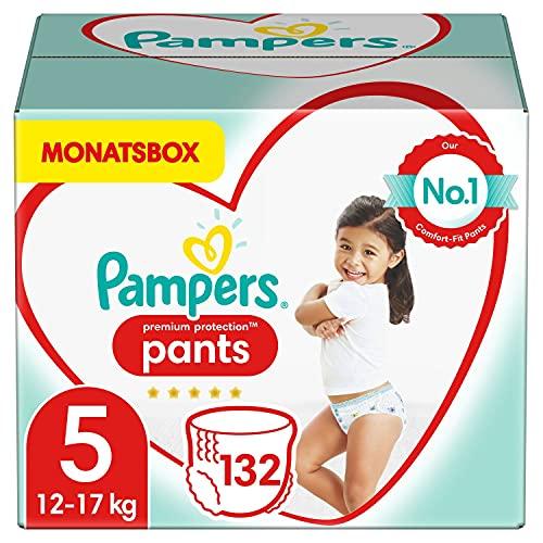 Pampers Baby Windeln Pants Größe 5 (12-17kg) Premium Protection, 132 Höschenwindeln, MONATSBOX, Weichster...