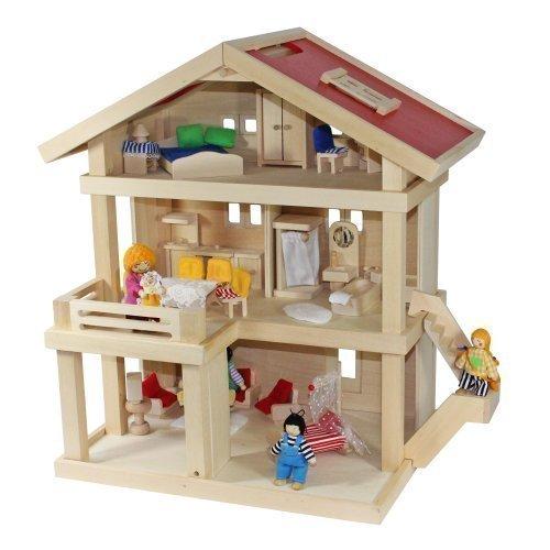 Freda Villa Puppenhaus + Puppenfamilie + Hussen + Puppenhausmöbel 26teilig + Babywiege aus Holz 3 Etagen