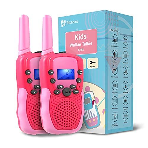 TekHome Spielzeug Mädchen 3 4 5 6 7 Jahre Walkie Talkie Kinder 3km mit Taschenlampe, Top Kindergeburtstag...