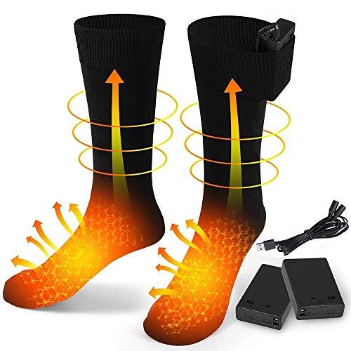 FLYEER USB Wiederaufladbare Elektrisch Beheizte Socken Akku Beheizte Socken für Männer und Frauen Kaltes...
