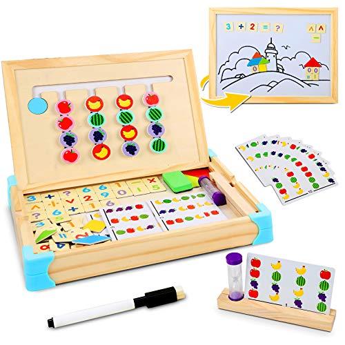 Jojoin Montessori Spielzeug Holz Puzzle Sortierbox, Kinder Lernspielzeug mit Obstsortierspiel, Magnetisches...