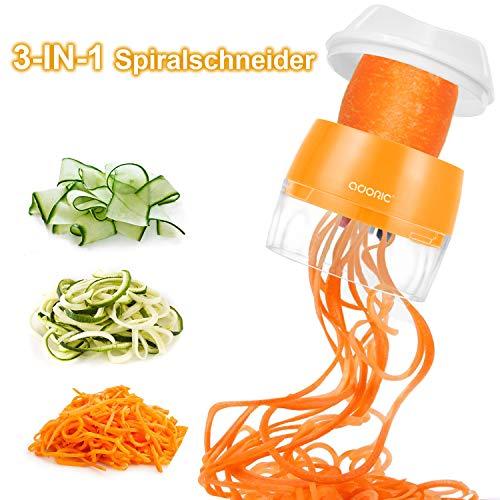 Adoric Spiralschneider Hand [ 3 in 1 ] Gemüse Spiralschneider, Gemüsehobel Gemüsenudeln für Karotte,...