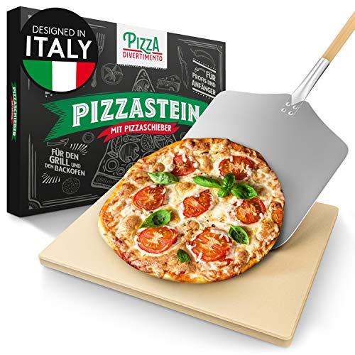 Pizza Divertimento - Pizzastein für Backofen und Gasgrill – Mit Pizzaschieber – Cordierit Pizza Stein –...