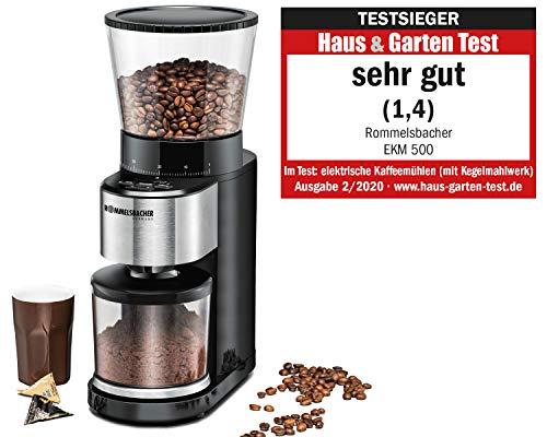 ROMMELSBACHER Kaffeemühle EKM 500 - Kegelmahlwerk, Präzisions-Waage, Halterung für Siebträger, Mahlgrad in...