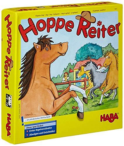 Haba 4321 - Hoppe Reiter Pferdestarkes Wettlaufspiel, für 2-4 Spieler von 3-12 Jahren, Spielbar in 3...