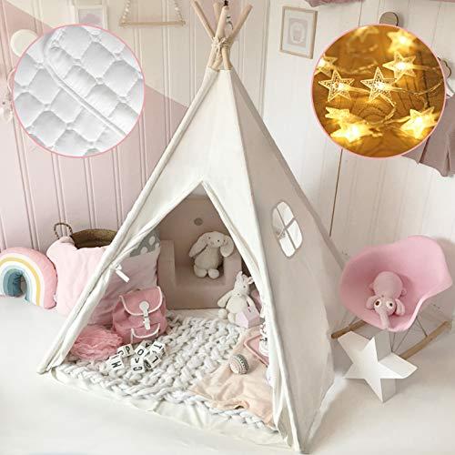 Tiny Land Tipi Spielzelt für Kinder mit Matte & Lichterkette & Aufbewahrungstasche Baumwolle- Segeltuch...