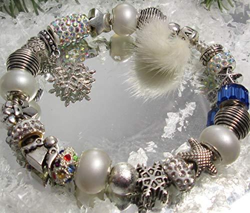 Weihnachten Adventskalender 1 Pandoraarmband +23 european beads und 24 Säckli handmade