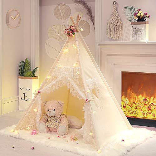 TreeBud Lace Tipi Zelt für Mädchen Tipi Zelt Elfenbein Leinwand Klassisches Spielzelt / Haus für Kinder...