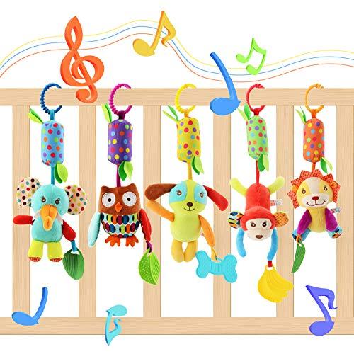 Lanero Baby Spielzeug 5 Packs Kinderwagen Spielzeug Kinderbett Anhänge Cartoon Tier hängen Rassel Kleinkind...