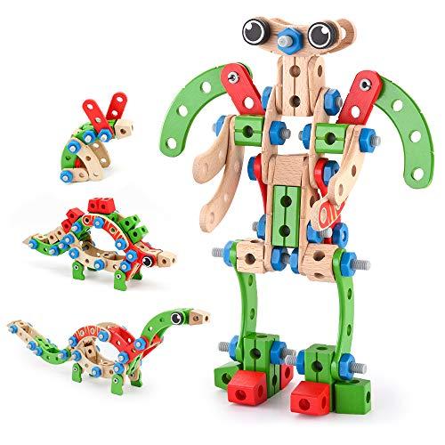 VATOS Gebäude Spielzeug für Kinder, STEM Bausteine BAU Holzgebäude Spielzeug 96 PCS, Pädagogisches...